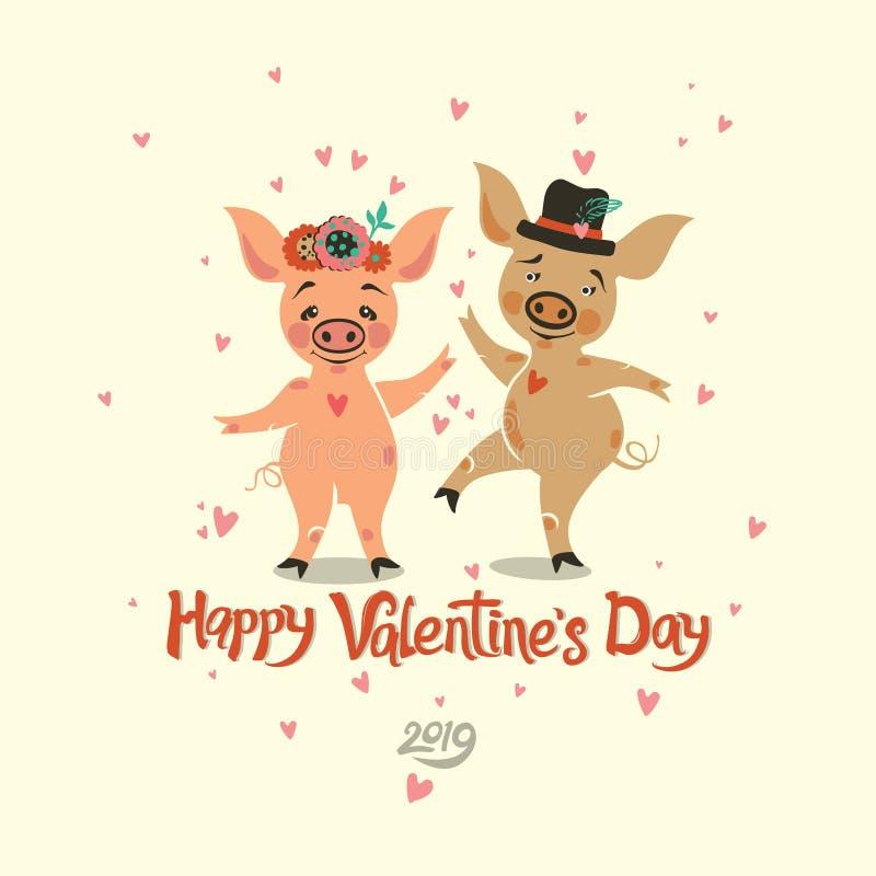 Jour heureux du `s de Valentine Carte postale avec deux porcs de danse très mignons illustration de vecteur