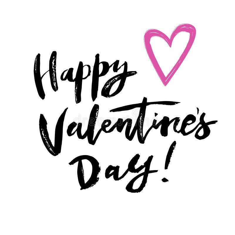 Jour heureux du `s de Valentine Citation tirée par la main de salutation illustration stock