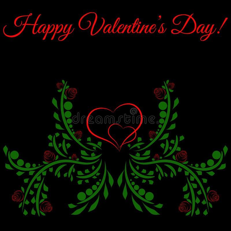 Jour heureux du ` s de Valentine ! Deux coeurs entourés par des roses Fond foncé Vecteur illustration de vecteur