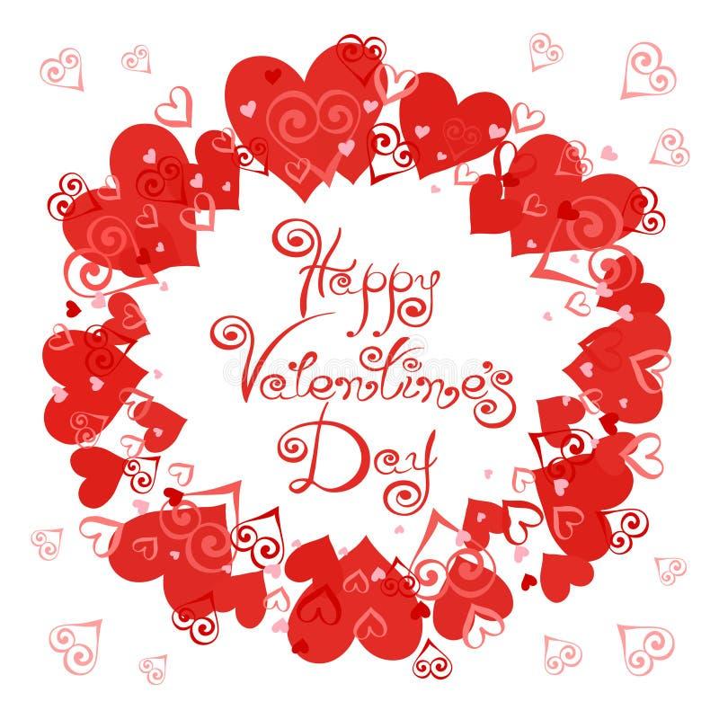 Jour heureux du `s de Valentine Dirigez le cadre avec des coeurs pour des cartes de voeux, invitations, affiches illustration libre de droits