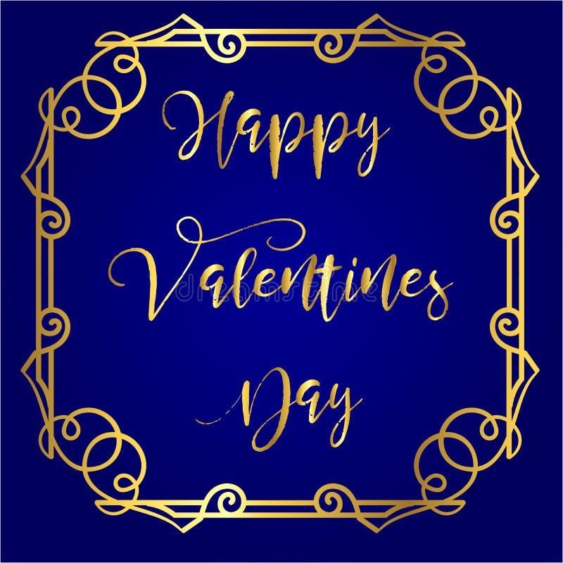 Jour heureux du ` s de Valentine en or marquant avec des lettres le fond de bleu royal et avec le cadre de vintage autour illustration libre de droits