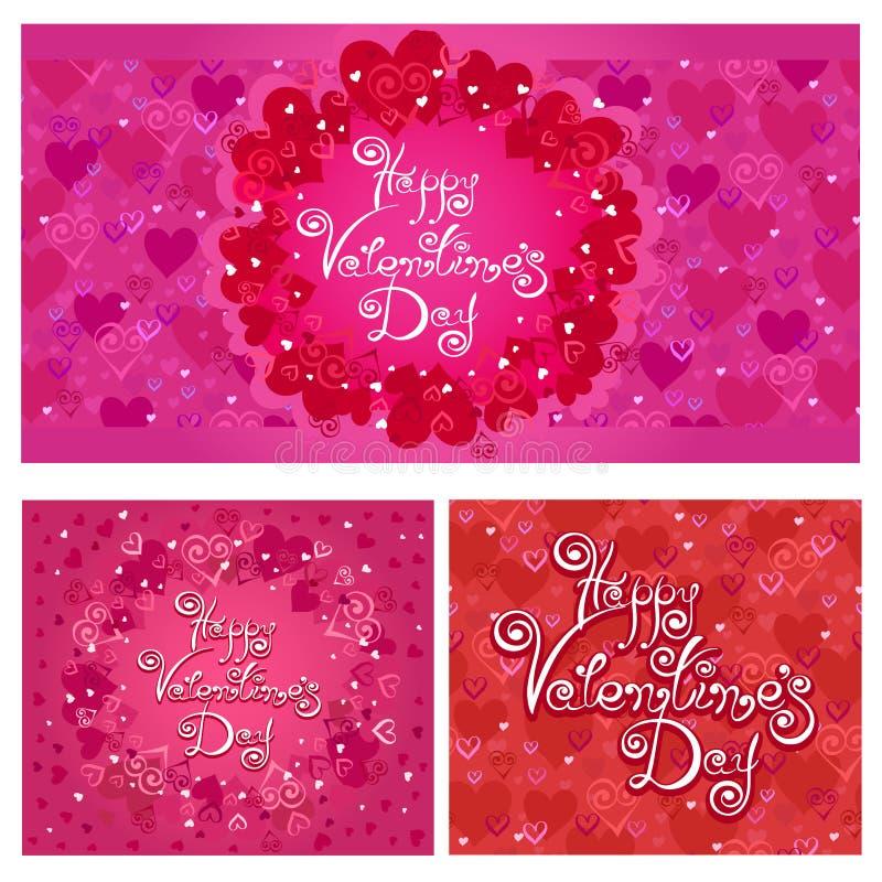 Jour heureux du `s de Valentine Ensemble de cartes de vecteur avec le modèle de coeurs illustration libre de droits