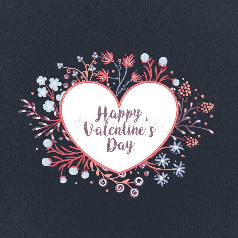 Jour heureux du `s de Valentine Fleurs colorées tirées par la main autour de coeur Trame florale roman Vacances en février illustration libre de droits