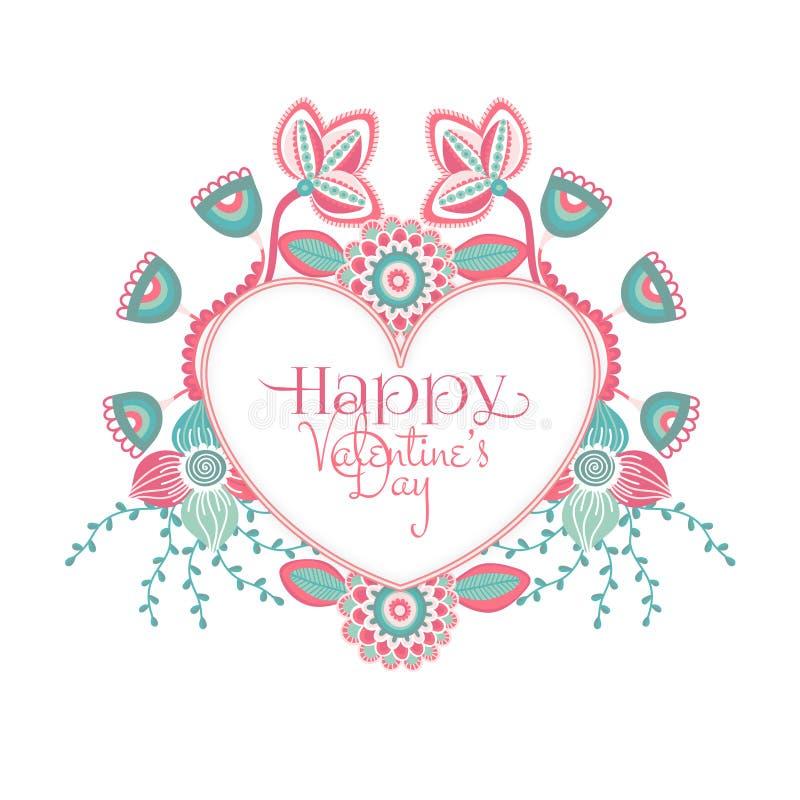 Jour heureux du `s de Valentine Fleurs colorées tirées par la main autour de coeur Trame florale roman Vacances en février Style  illustration libre de droits