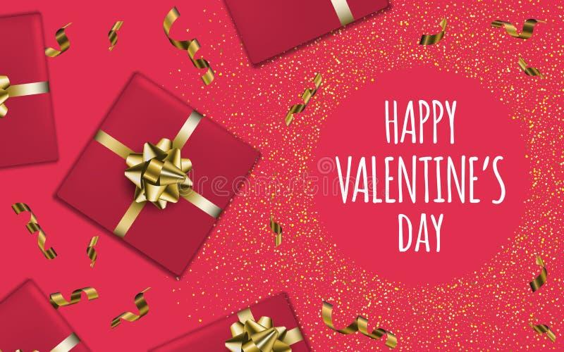 Jour heureux du `s de Valentine Fond de boîte-cadeau illustration stock