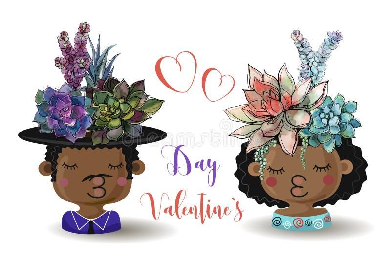 Jour heureux du `s de Valentine Garçon et fille avec des succulents de fleurs watercolor Vecteur illustration libre de droits