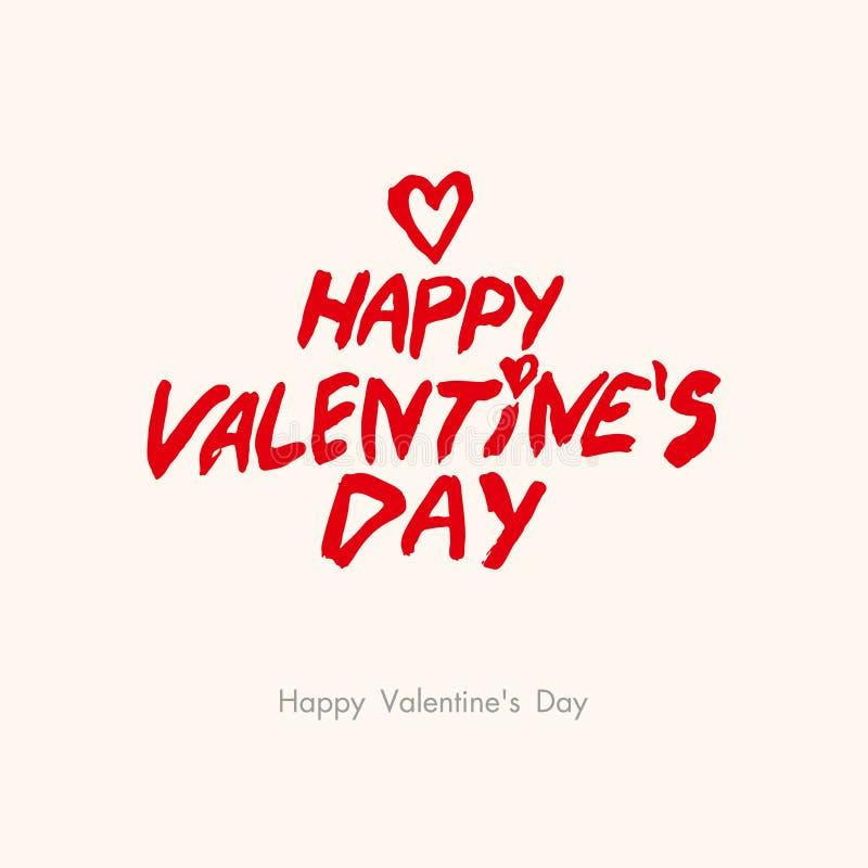 Jour heureux du `s de Valentine Lettrage brutal de calligraphie de style Calibre avec un titre et un coeur rouges illustration stock