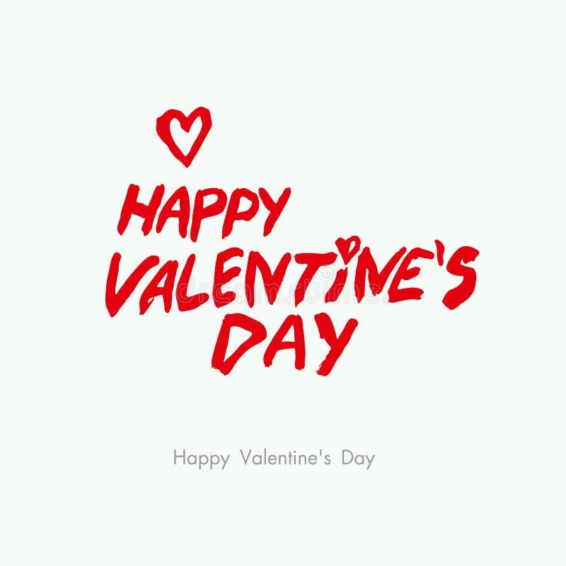 Jour heureux du `s de Valentine Lettrage brutal de calligraphie de style Calibre avec un titre et un coeur rouges illustration libre de droits