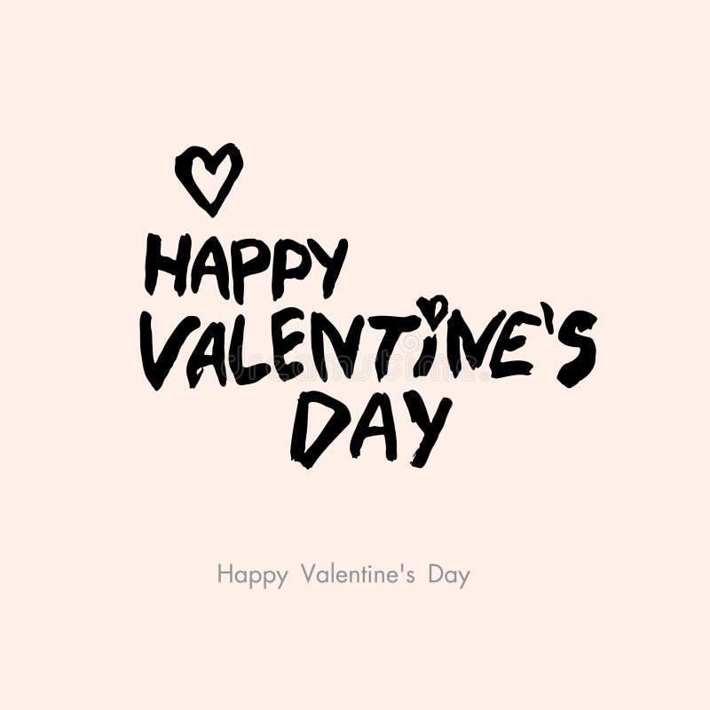 Jour heureux du `s de Valentine Lettrage brutal de style sur un fond rose de poudre illustration stock