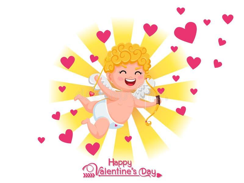 Jour heureux du `s de Valentine Personnage de dessin animé drôle de cupidon avec le tir à l'arc sur le fond clair d'or Éléments d illustration libre de droits