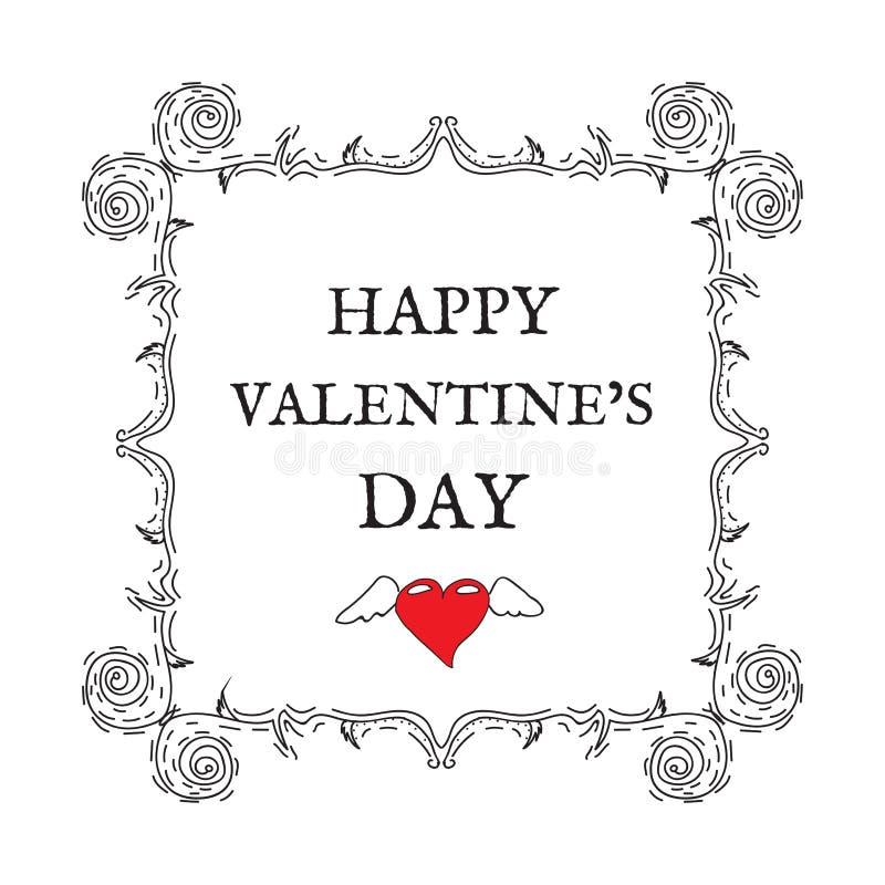 Jour heureux du `s de Valentine Vintage, rétro style Carte postale pour l'invita photos libres de droits