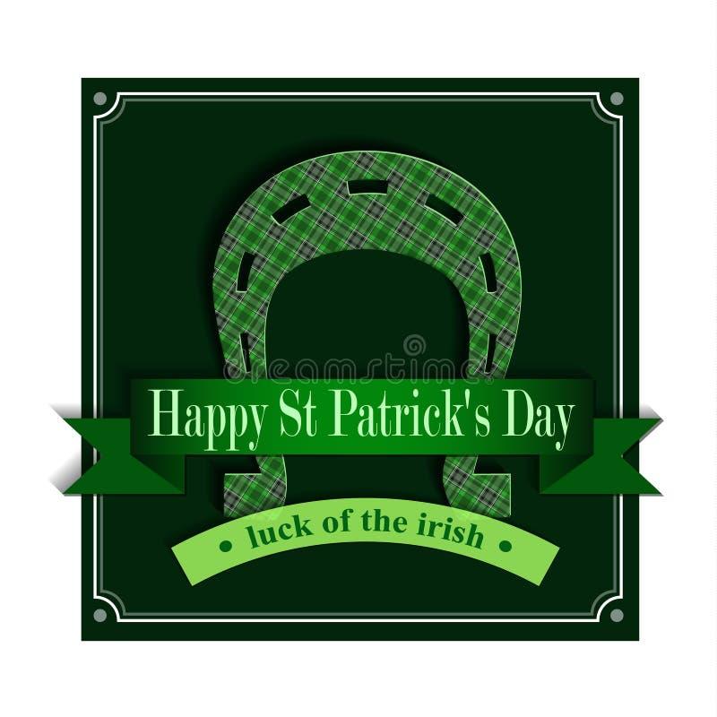 Jour heureux Lucky Horseshoe de St Patricks illustration de vecteur