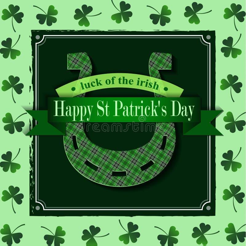 Jour heureux Lucky Horseshoe de St Patricks illustration libre de droits