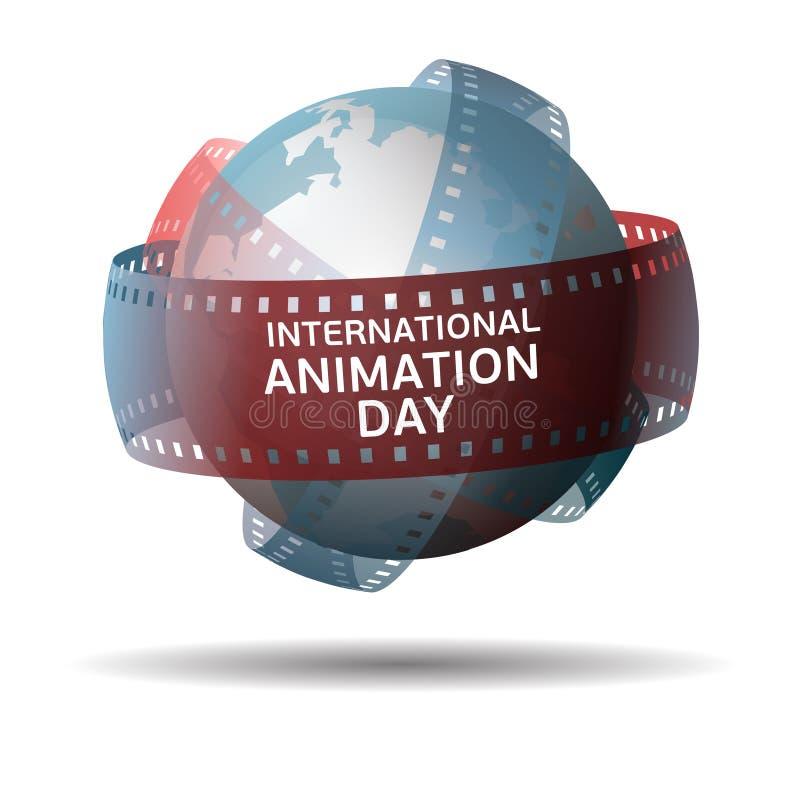 Jour international d'animation Globe avec l'extrait de film d'isolement sur le fond blanc photo stock