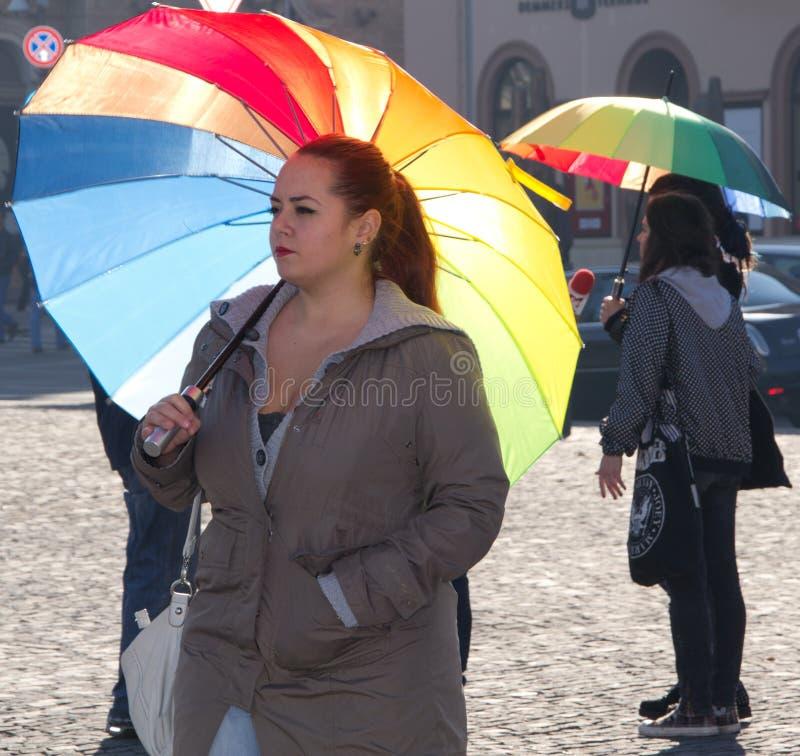 Jour international d'arc-en-ciel Flashmob de tolérance images libres de droits