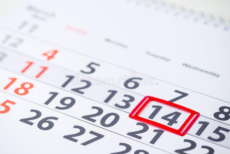 Jour international d'astrologie, jour de valentines Mark du numéro 14 de jour images stock
