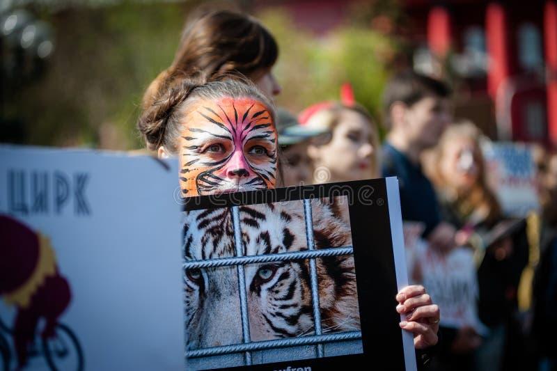 Jour international de cirque Activistes protestés contre l'exploitation les animaux photographie stock