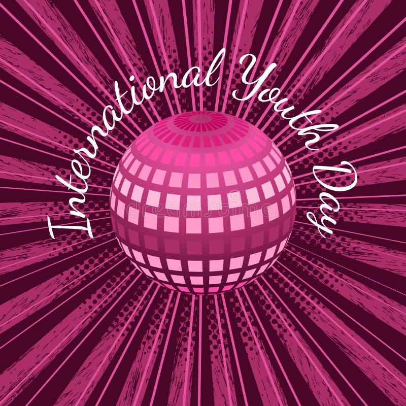 Jour international de la jeunesse 12 boules d'August Mirror ou terre de planète, avec des rayons, fond grunge cramoisi illustration libre de droits