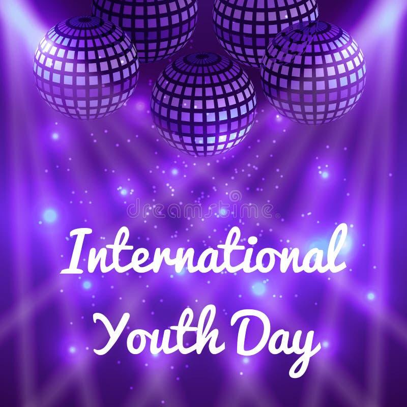 Jour international de la jeunesse 12 boules d'August Mirror pour des parties avec des rayons, fond pourpre de tache floue illustration de vecteur