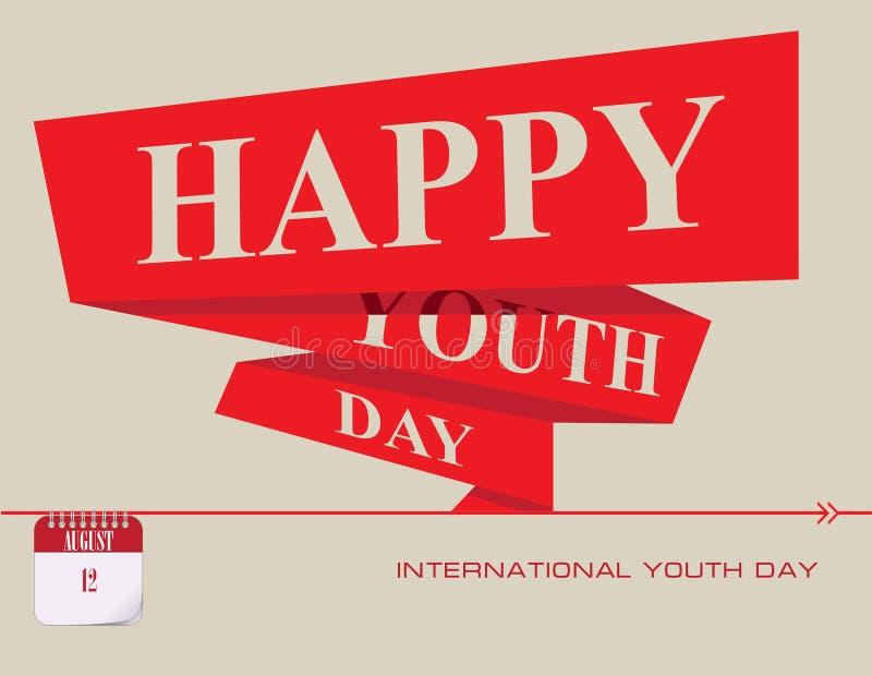 Jour international de la jeunesse de carte postale illustration libre de droits