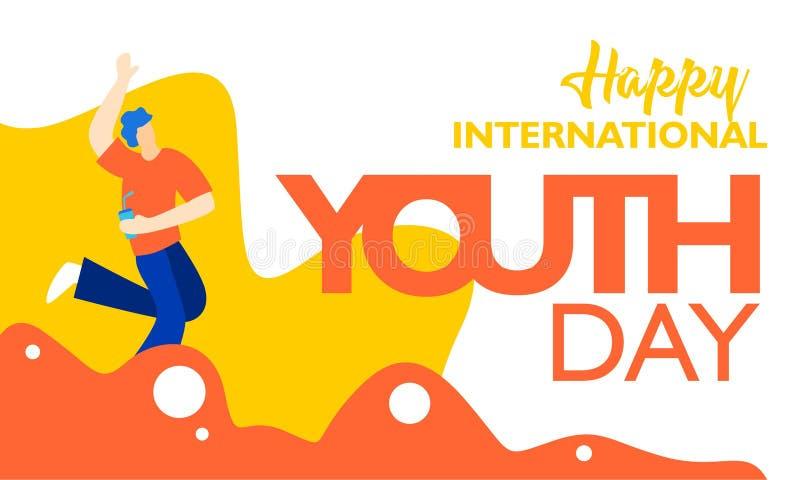 Jour international de la jeunesse, le 12 août avec l'illustration active et passionnée des jeunes sur la forme onduleuse orange e illustration stock
