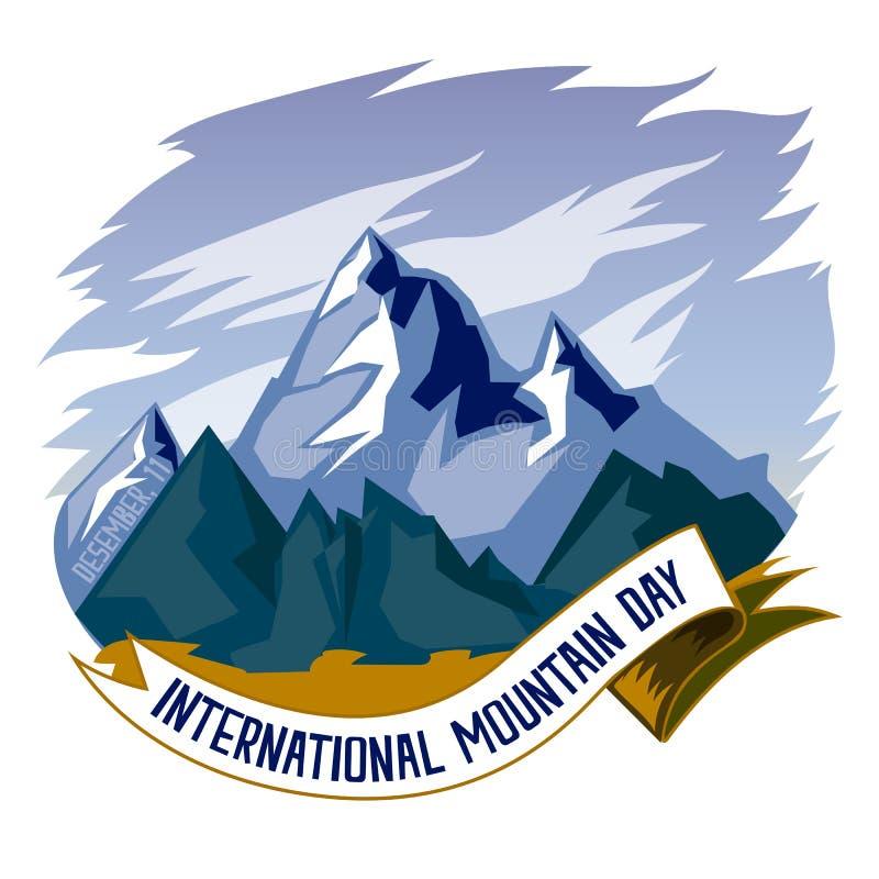 Jour international de montagne, le 11 décembre Vecteur conceptuel d'illustration de chaînes de montagne illustration de vecteur