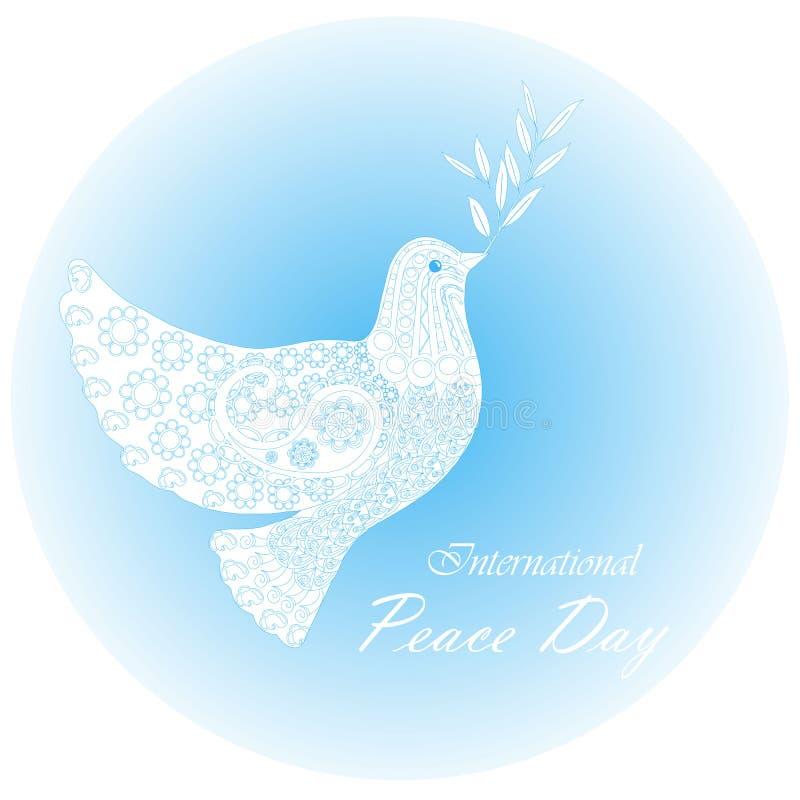 Jour international de paix de bannière de typographie, colombe blanche de paix sur le bleu, ornements, tirés par la main illustration de vecteur