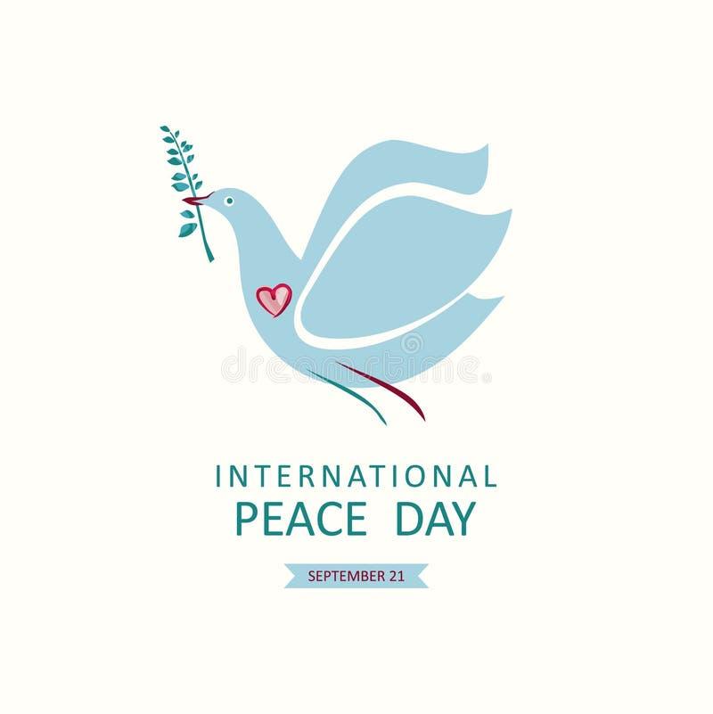 Jour international de paix Colombe avec une branche d'olivier illustration libre de droits