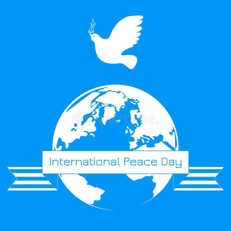 Jour international de paix Le blanc a plongé avec la branche d'olivier La terre de planète illustration de vecteur
