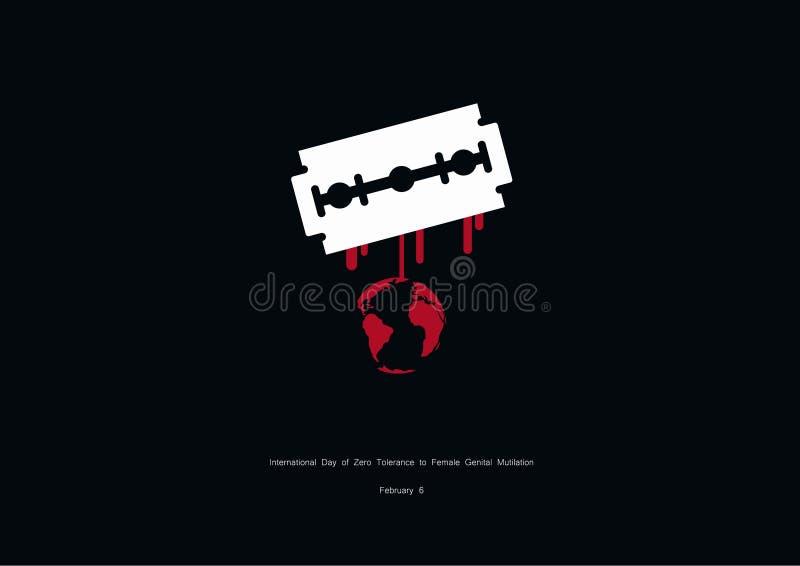 Jour international de tolérance zéro au vecteur génital femelle de mutilation illustration de vecteur