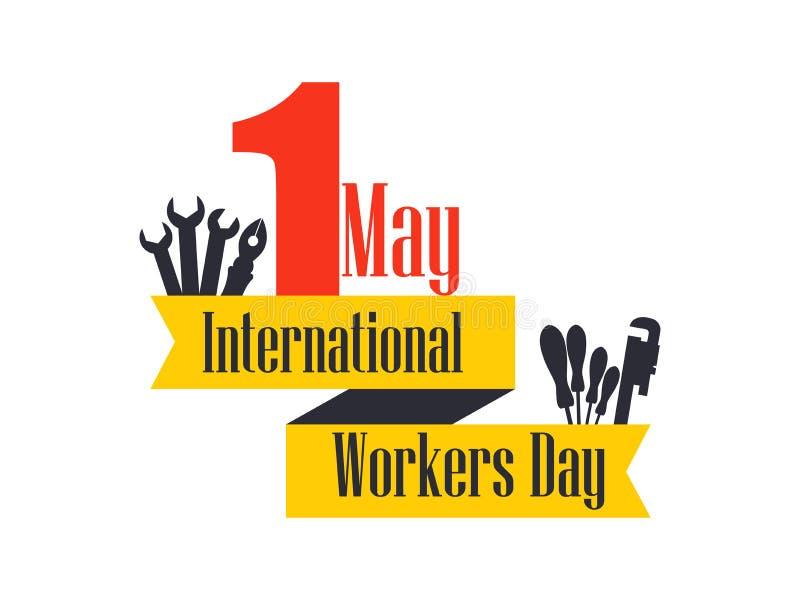 Jour international de travailleurs Jour de travail 1er le mai Ruban avec des instructions des textes et de bâtiment Vecteur illustration de vecteur