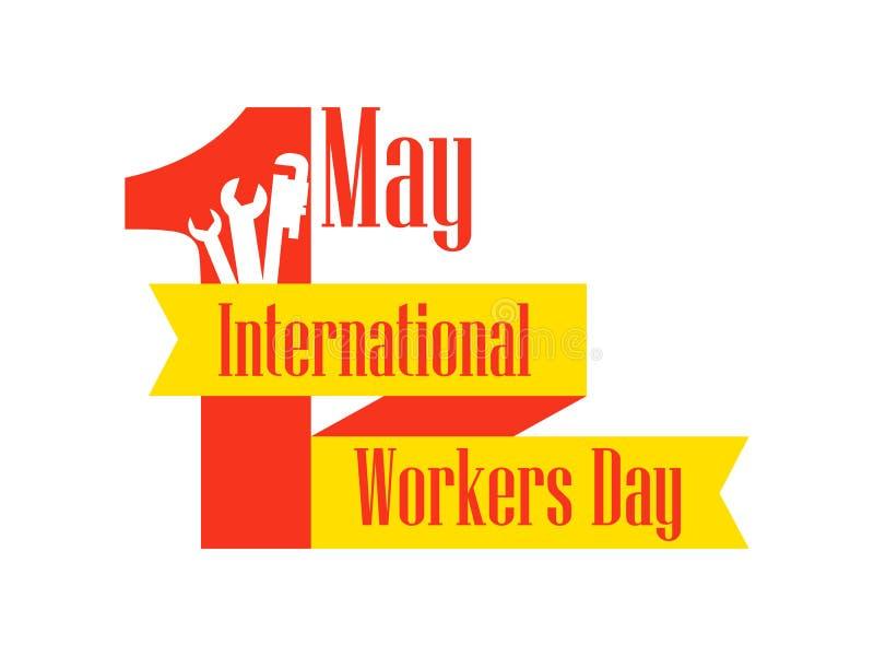 Jour international de travailleurs Jour de travail 1er le mai Ruban avec des instructions des textes et de bâtiment Vecteur illustration libre de droits