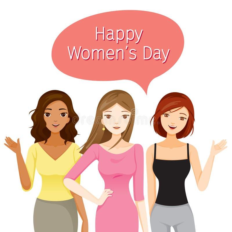 Jour international de Women's, femmes avec de diverses nations et peau illustration libre de droits