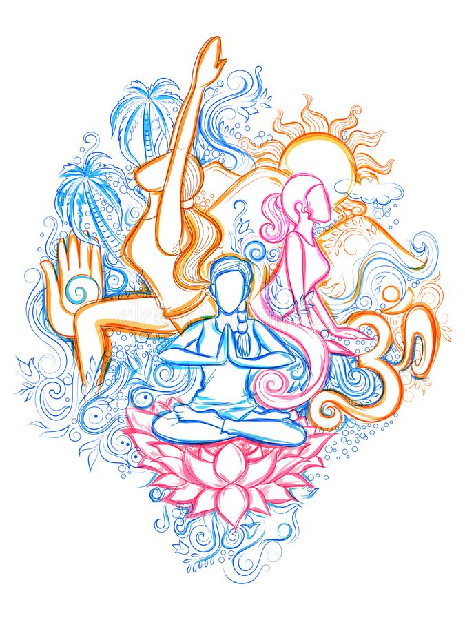 Jour international de yoga illustration libre de droits