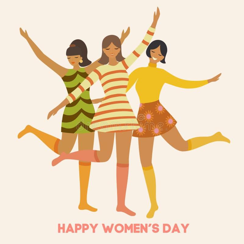 Jour international du ` s de femmes Calibre de cru de vecteur avec les filles de danse mignonnes dans le rétro style Peut être em illustration stock