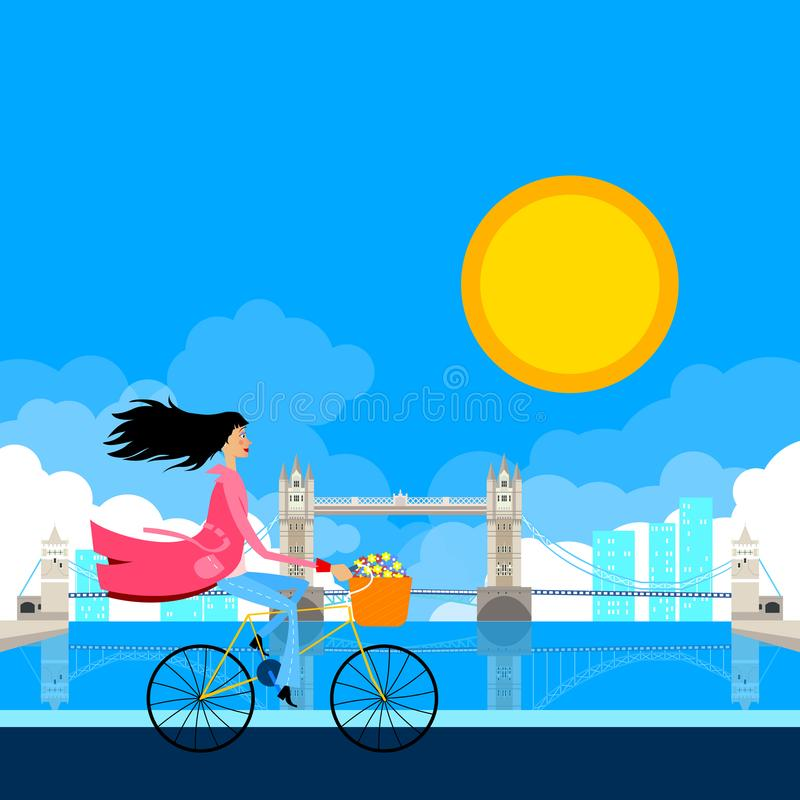 Jour international du ` s de femmes Femme de cycliste devant le pont de Londres illustration stock