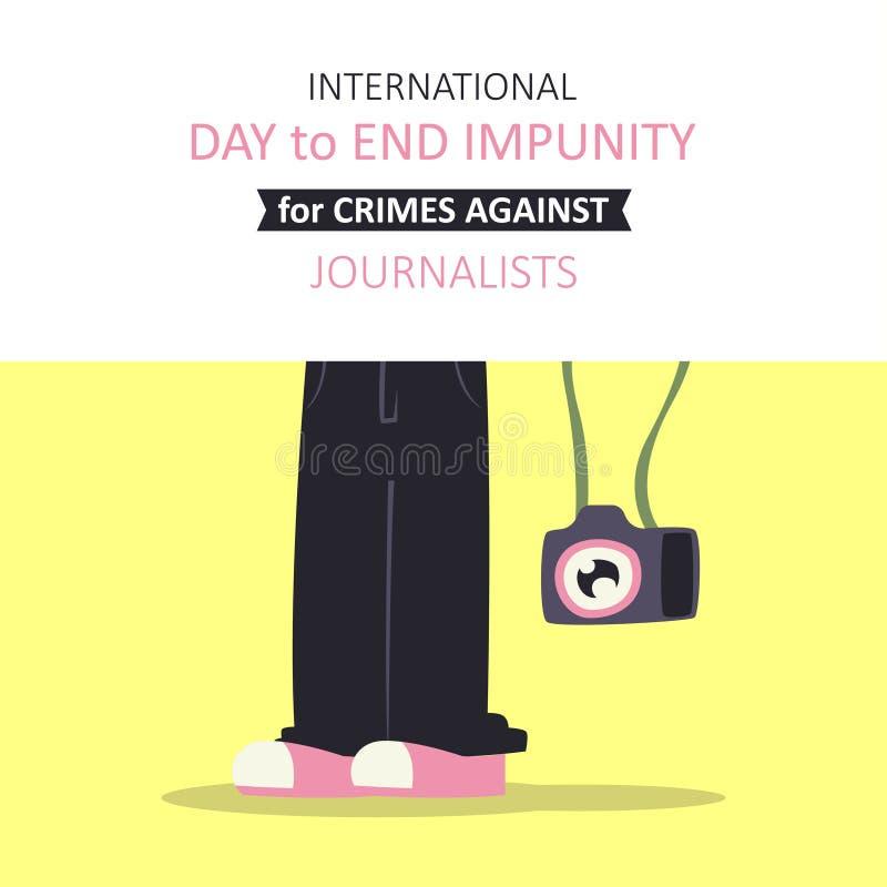 Jour international pour finir l'impunité pour des crimes contre des journalistes illustration libre de droits