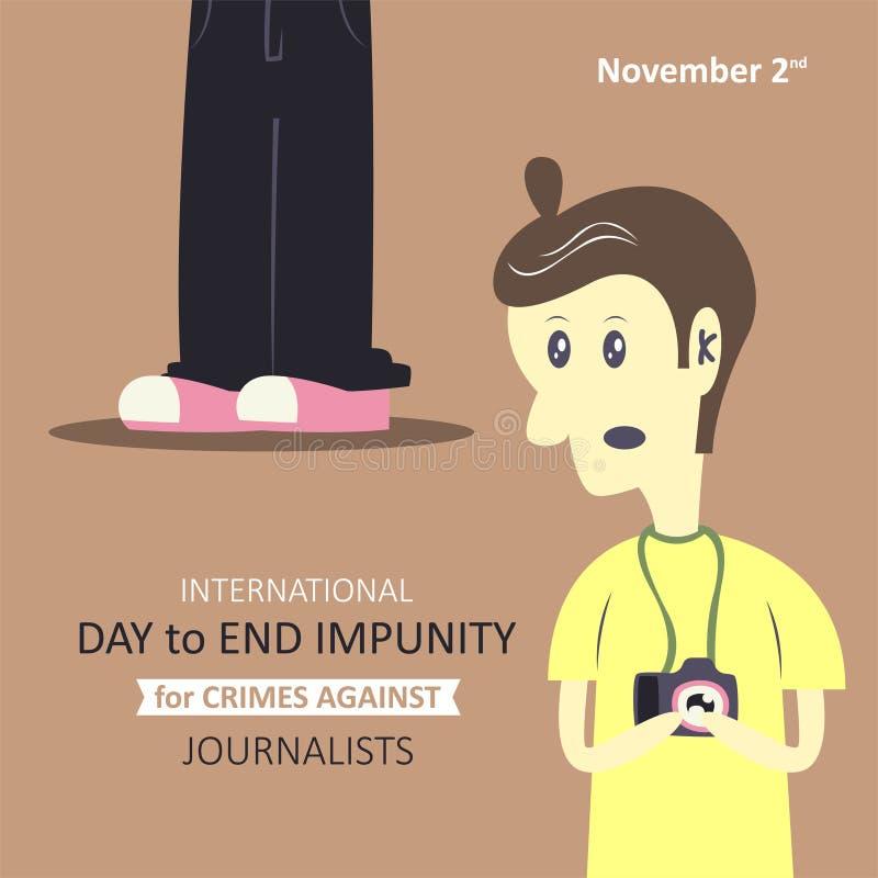 Jour international pour finir l'impunité pour des crimes contre des journalistes illustration de vecteur