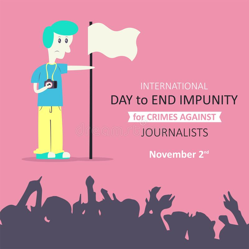 Jour international pour finir l'impunité pour des crimes contre des journalistes illustration stock