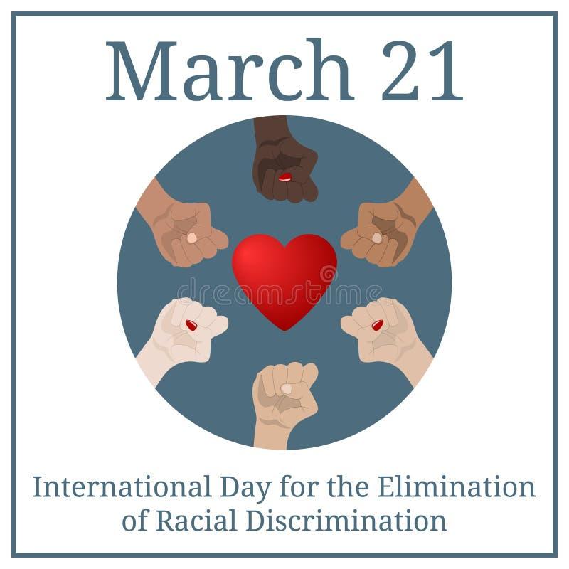 Jour international pour l'élimination de la discrimination raciale 21 mars Calendrier de vacances de mars Les mains des personnes illustration stock