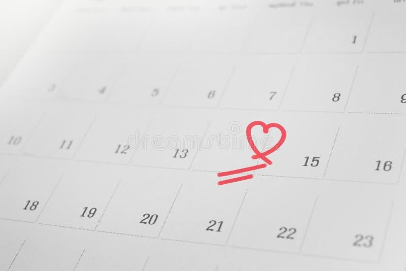 Jour 14 manquant, le concept de fond de calendrier de f?vrier de l'amour non r?compens photo libre de droits