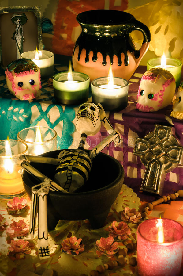 Jour mexicain de l'autel mort (Dia de Muertos) photo libre de droits
