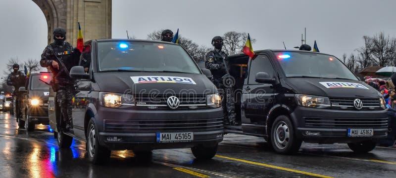 Jour national de la Roumanie, police roumaine image stock