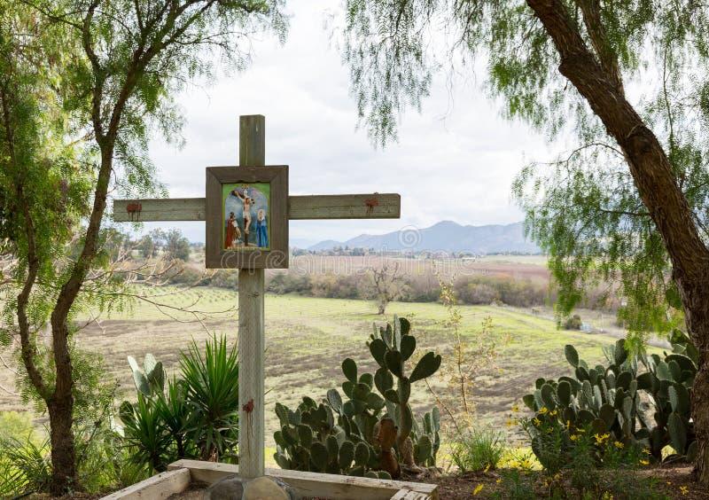 Jour nuageux à la mission la Californie de Santa Ines photographie stock