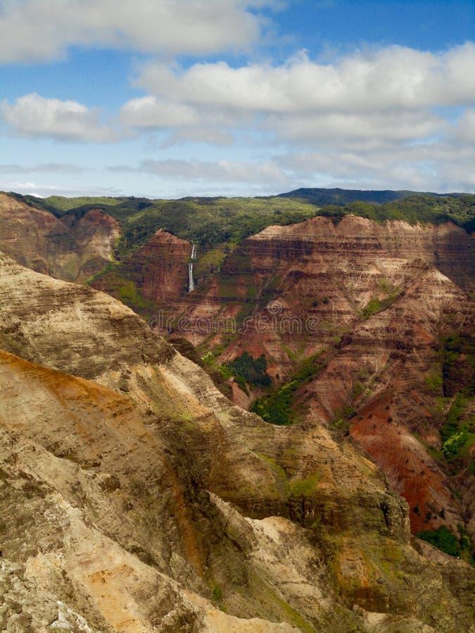 Jour nuageux au-dessus de canyon de Waimea photo stock