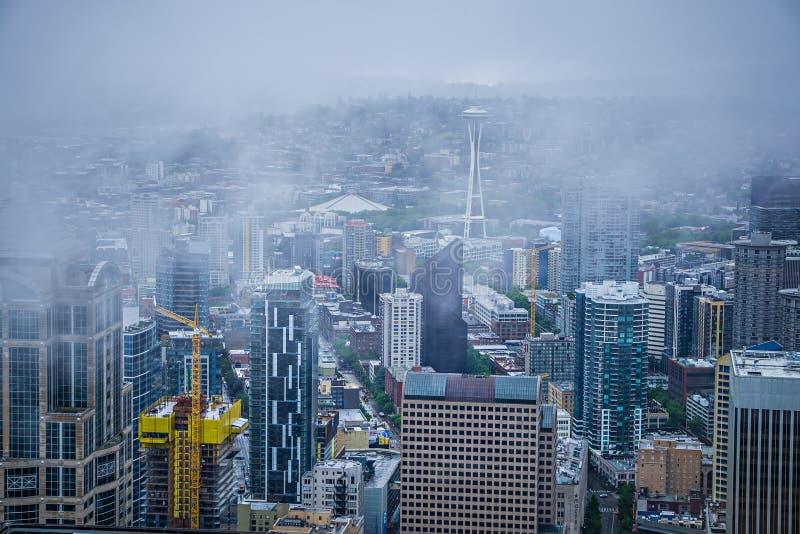 Jour nuageux et pluvieux à Seattle Washington photographie stock