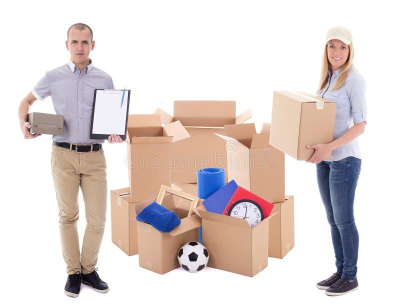 Jour ou concept mobile de la livraison - ajouter à l'esprit de boîtes en carton photo stock