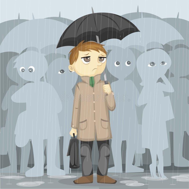 Jour pluvieux sombre illustration de vecteur