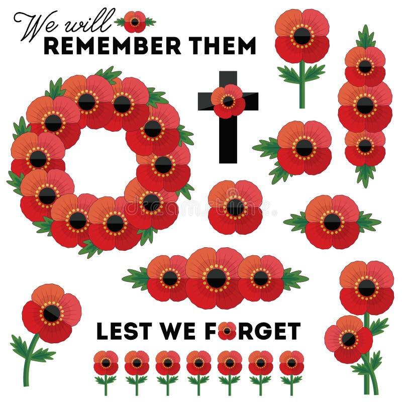 Jour rouge patriotique d'isolement de souvenir d'anzac de pavots d'éléments illustration libre de droits