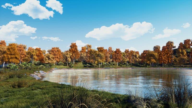 Jour serein d'automne sur le rivage du lac calme de forêt photo stock
